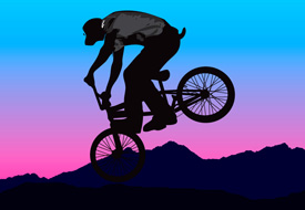 BMX bicycle rider half sihouette free vector