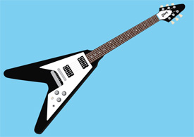 Gibson flying V guitar vector illustration