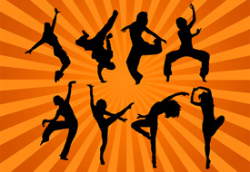 Modern dancing silhouettes free vector illustration