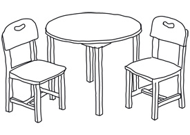 Line art chairs and table free vector illustration