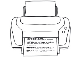 Line art printer free vector illustration