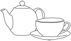Line art tea-pot with cup free vector illustration