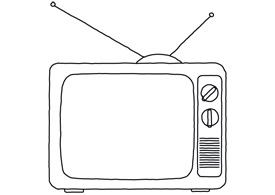 Hand drawn line art old TV