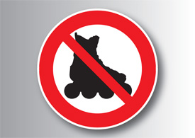 No roller skates allowed free vector sign
