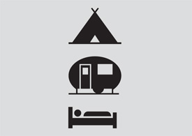 Holiday icons - tent, caravan, bed