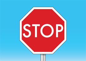 Stop sign with blue sky background vector
