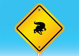 Alligator warning sign free vector illustration thumb