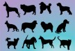 Dogs silhouettes free vector illustration thumb