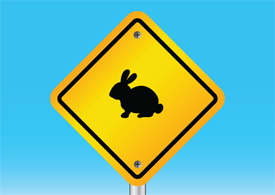 Rabbit warning sign free vector illustration thumb