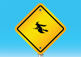 Beware of witch sign - free vector illustration - thumb