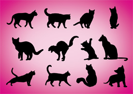 Cats silhouettes free vector illustration thumb