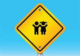 Kids warning sign vector illustration thumb