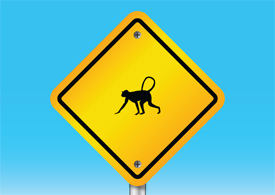 Monkey warning sign free vector illustration thumb