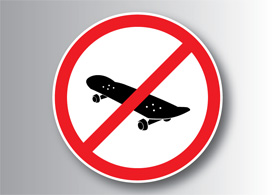 No skateboard sign - free vector illustration - thumb