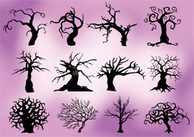 Creepy trees free vector silhouettes
