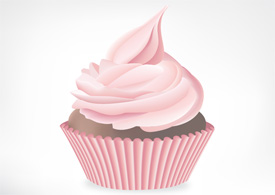Strawberry cupcake free vector illustration