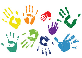 Handprints - colorful vector art