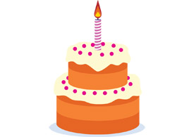 Birthday cake free vector drawing - thumb