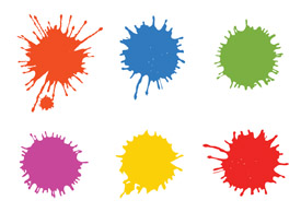 Paintball splatters free vector art - thumb