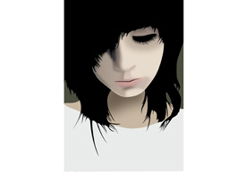 Emo Girl With Dark Hair Vector Portrait