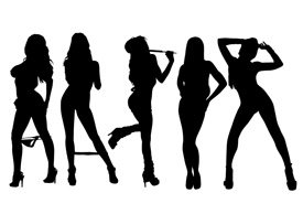 5 Sexy Girls Vector Silhouettes