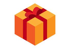 Isometric Flat Present Box Icon