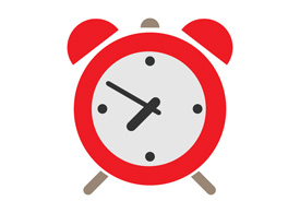 Red Alarm Clock Flat Icon
