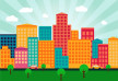 Colorful Flat City Buildings