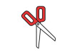 Red Scissors Outline Vector