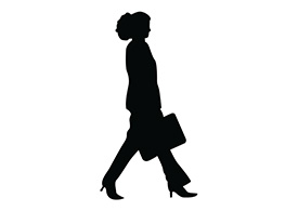 Walking Woman With Bag Silhouette
