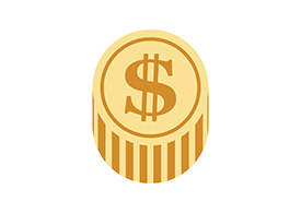 Flat Dollar Coin Vector