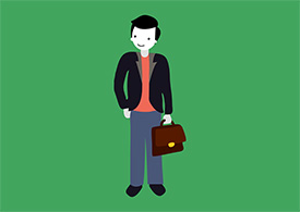 Man With Briefcase Cartoon Character