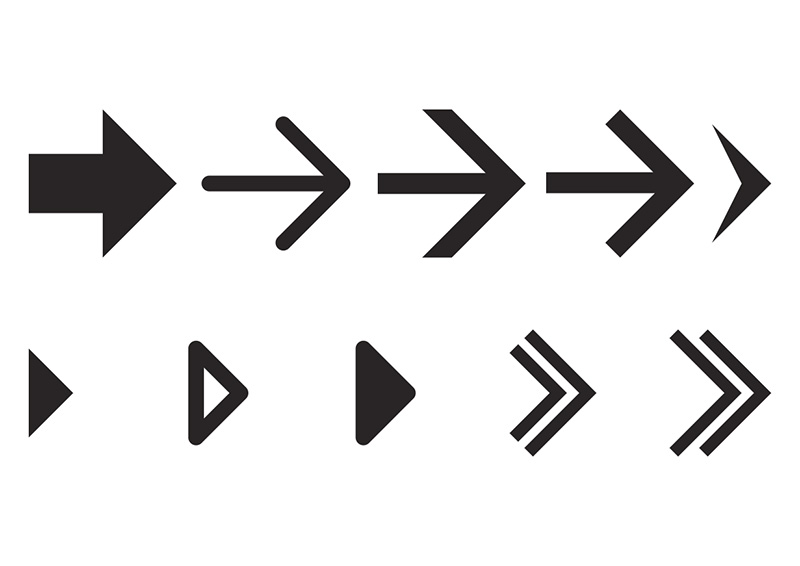 Simple Vector Arrows Icon Set on 10 types of cars