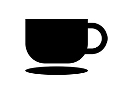 Black Flat Coffee Cup Vector Icon