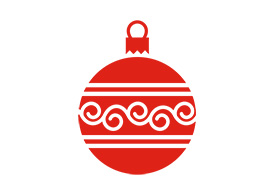 Flat Christmas Ball With Ornament