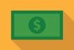 Flat Dollar Banknote Icon