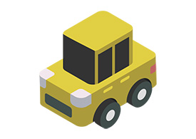 Funny Simple Isometric Yellow Car