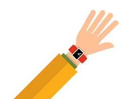 Hand Wearing a Smartwatch Flat Vector