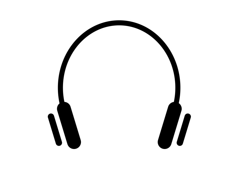 Headphones Vector Icon on head flat