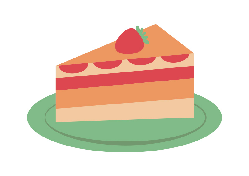 Strawberry Cake On A Plate