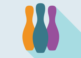 Three Bowling Skittles Flat Vector