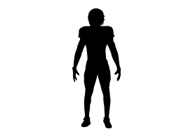 American Football Player Silhouette On White Background