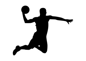 Basketball Player Black Silhouette On White Background