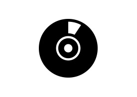 Black Simple CD Vector Icon