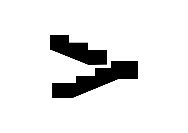 Black Simple Stairs Vector Icon