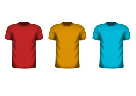 Colorful Male T-shirts Free Vector
