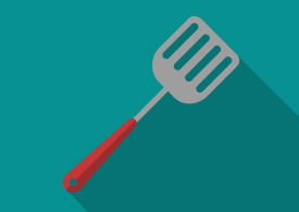 Flat Kitchen Fish Turner Vector