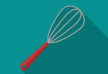 Flat Kitchen Whisk On Gossamer Color Background