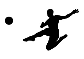 Jumping Soccer Player Silhouette