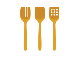 Kitchen Wooden Utensils Flat Vector On White Background